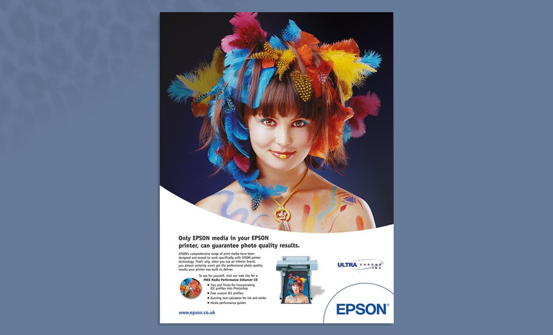 Epson advert colour feathers advert