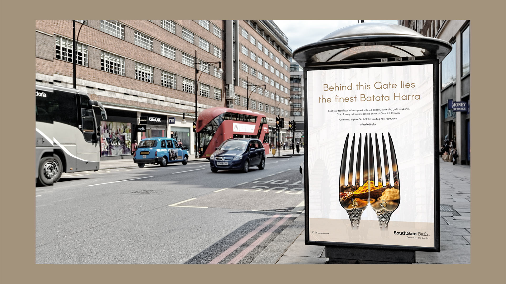 SouthGate Food bus stop ad