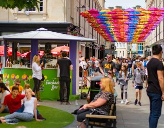 SouthGate Summer campaign umbrella walkway bar creative
