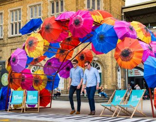 SouthGate Summer campaign umbrella bridge